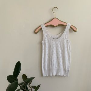 Allsaints White Sheer Perforated Tank Top